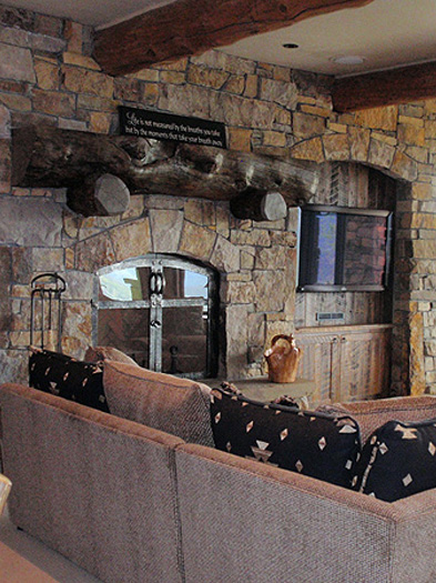 ... Full Wall Handcrafted Rock Fireplace, Big Sky MT ...