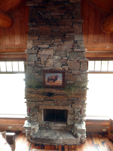 Fireplace rockwork hackbarth construction for Log home fireplaces