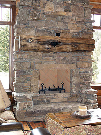 ... Log Home Rock Fireplace, Big Sky MT ...