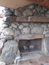 Outside fireplace on log home, Big Sky MT
