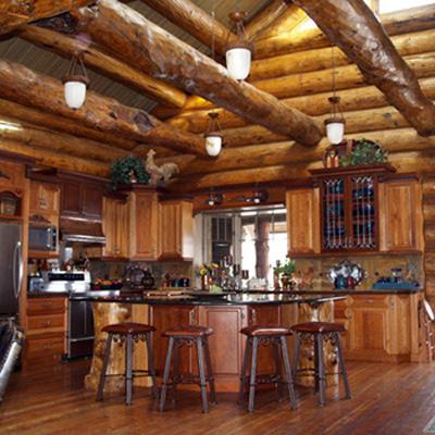 Custom luxury log cabin photos joy studio design gallery for Log home kitchens gallery