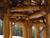 Bozeman, MT Unique twig roofing over walkway