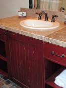 Red Bathroom Cabinets, Bozeman