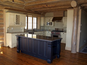 Blue and White Kitchen Cabinets, Log Home Big Sky MT