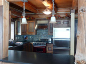 Unique Red Accented Kitchen, Big Sky MT