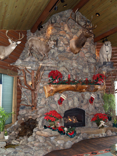 ... Unique Stone Fireplace with Waterfall